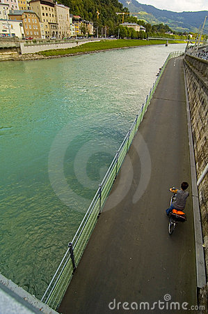 Salzach River And Bicycle Road