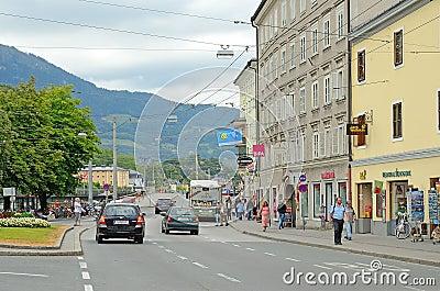 Salzburg Österrike. Redaktionell Arkivbild