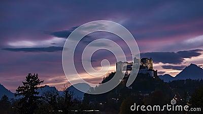Salzburg Castle Sunset timelapse stock video