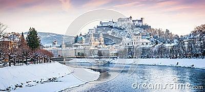 Salzburg skyline with river Salzach in winter, Salzburger Land, Austria