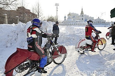 Samara, winter speedway Championship Russia Editorial Stock Image
