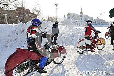 Samara, winter speedway Championship Russia Editorial Stock Image