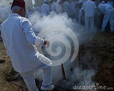 Samaritan Passover sacrifice Editorial Stock Photo
