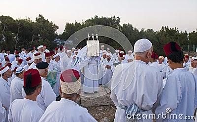 Samaritan Shavuot pray Editorial Stock Image