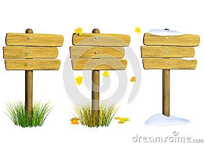 Samling av träskyltar