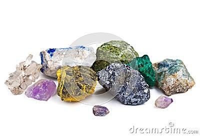 Samling isolerade mineraler