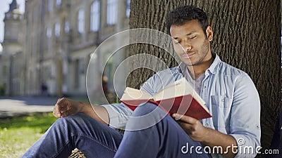 Sammanträde för ung man under trädläseboken och tänka, litteratur, fiktion lager videofilmer