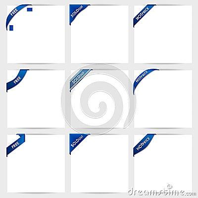 Sammlung blaue Eckbänder geben frei, ausverkauft, ho