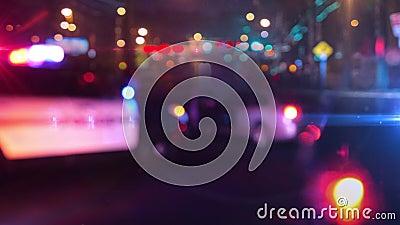 Samochód patrolowy policji na miejscu nagłego wybuchu soczewki optycznej zbiory wideo