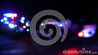 Samochód patrolowy policji na miejscu nagłego wybuchu soczewki optycznej zbiory