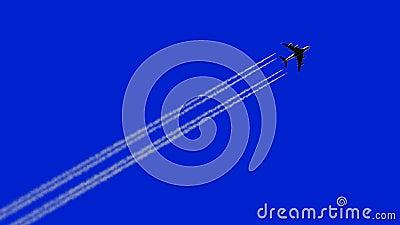 Samolot lata opuszczając Szlak, animacja 3d na niebieskim tle 4 k, Ultra HD 3840x2160 zdjęcie wideo