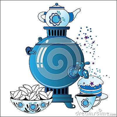 Samovar with tea cup, cake
