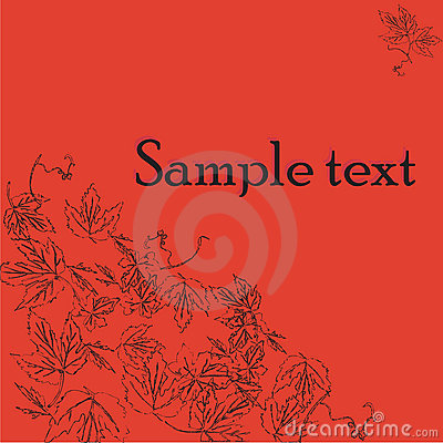 Sample text card with wine leaves motif
