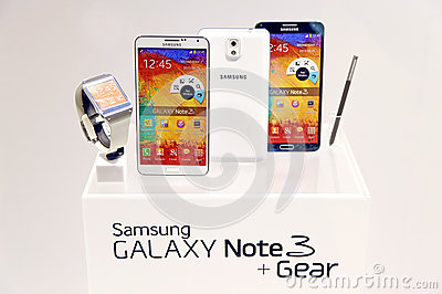 Samsung galaxy note 3 and gear Editorial Photo