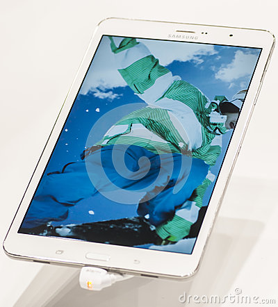 SAMSUNG GALAXY TAB PRO, MOBILE WORLD CONGRESS 2014 Editorial Stock Photo