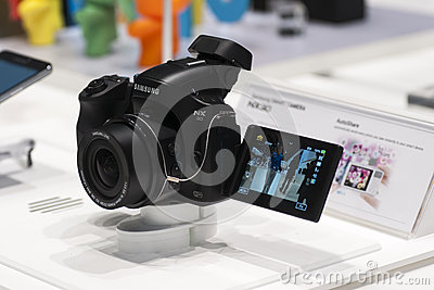 SAMSUNG NX30, MOBILE WORLD CONGRESS 2014 Editorial Stock Image