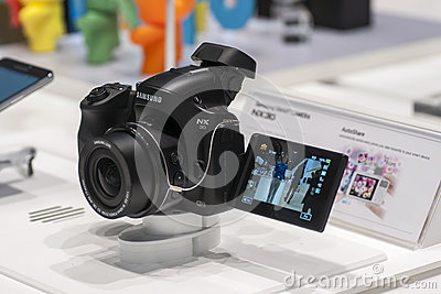 SAMSUNG NX30, MOBILE WORLD CONGRESS 2014 Editorial Stock Photo