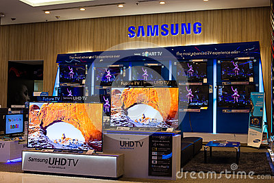 Samsung stand in Siam Paragon Mall. Bangkok, Thailand. Editorial Stock Photo