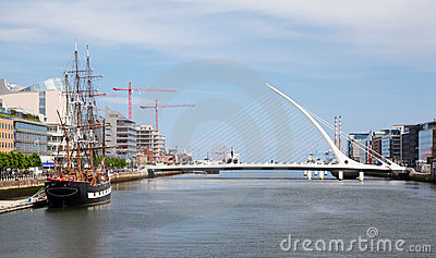 Samuel Beckett Bridge over River Liffey Editorial Photo