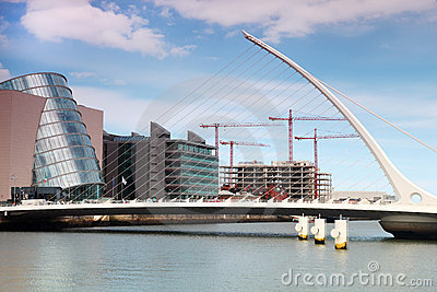 Samuel Beckett Bridge over River Liffey at day Editorial Photography