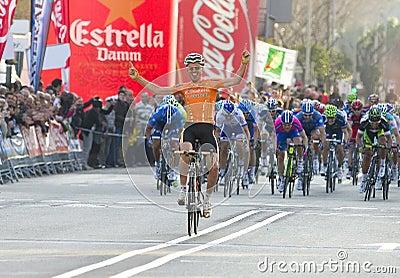 Samuel Sanchez wins the race Editorial Stock Photo