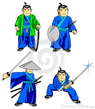 Samurai cartoon style