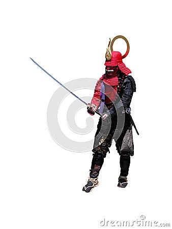 Samurai con la espada-lucha po