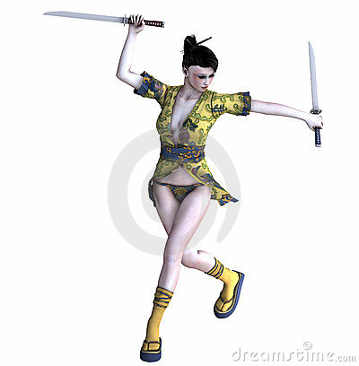 Samurai girl Stock Photo
