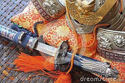 Samurai helmet and sword