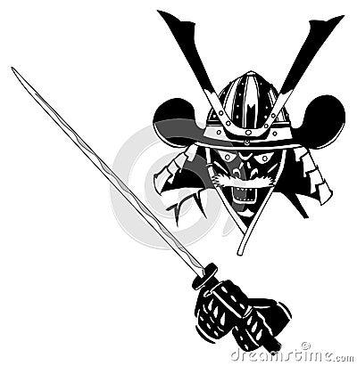 Samurai in mask, with sword