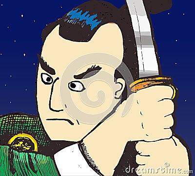 Samurai at night