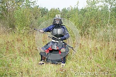 Samurai pulling out katana
