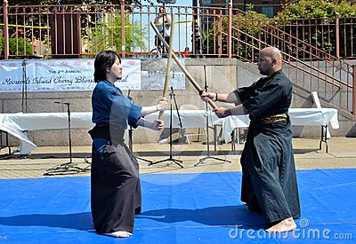 Samurai Sword Demonstration Editorial Photo