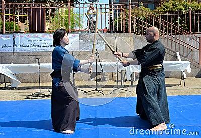 Samurai Sword Demonstration Editorial Photo