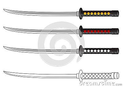 Samurai sword vector drawing