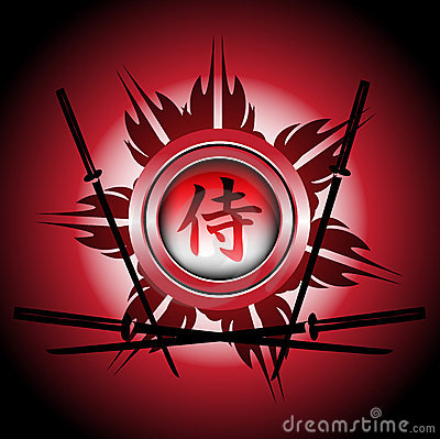 Samurai symbol and swords