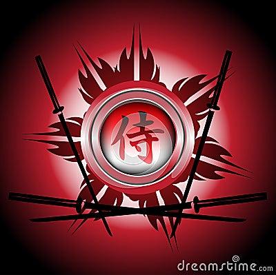 Samurai symbol and swords