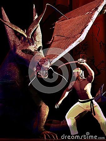Samurai versus dragon