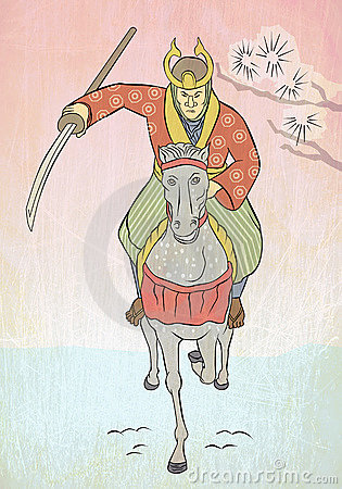 Samurai warrior riding horse attacking