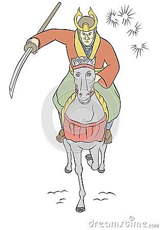 Samurai warrior riding horse attacking