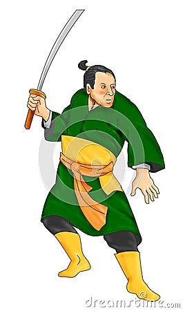 Free Samurai Warrior With Katana Sword Stock Photo - 24033510