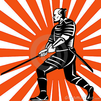 Free Samurai Warrior With Sword Fighting Stance Stock Photography - 13280802