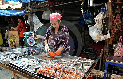 Samut Songkhram, Thailand: Fish Seller at Market Editorial Photo