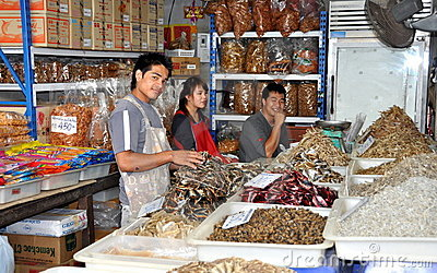 Samut Songkhram, Thailand: Fish Sellers at Market Editorial Stock Photo