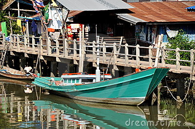 Samut Songkhram, Thailand: Fishing Boat Editorial Photo