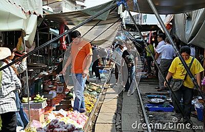 Samut Songkhram, Thailand: Railway Market Editorial Image