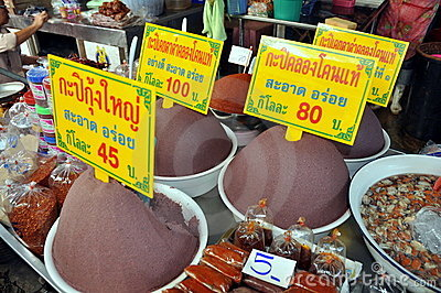 Samut Songkhram, Thailand: Railway Market Foods Editorial Stock Image