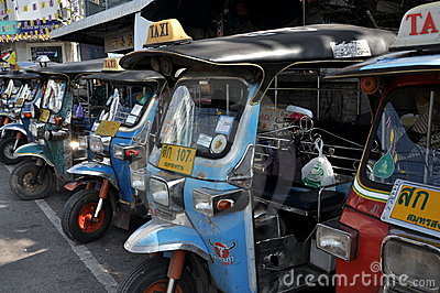 Samut Songkhram, Thailand: Tuk-Tuk Taxis Editorial Photography