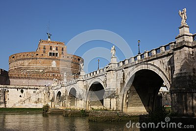 San Angelo bridge and castle in Rome,Italy