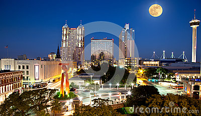 San Antonio and  Full moon Editorial Photography